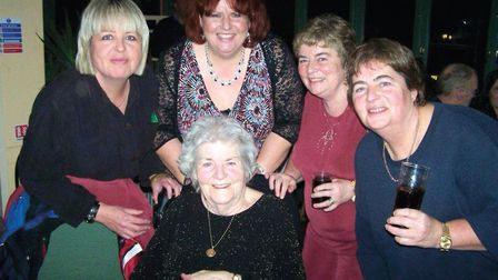 Muriel Brown, centre, with her four daughters including Wendy Metcalfe, right, who became her carer.