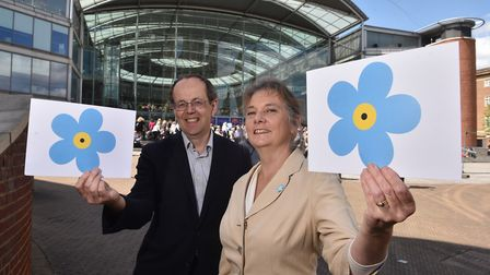 Dementia Friends gather at The Forum in Norwich for National Dementia Week. The Forum chief executiv