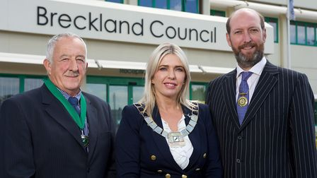 From left, Breckland Council vice chairman Richard Duffield, chairman Kate Millbank and outgoing cha