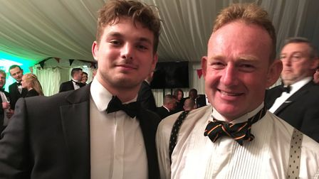 Will Evans, former Wymondham rugby club player and now with Leicester Tigers, with David Cross at th