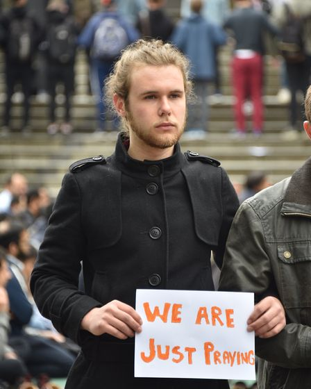 UEA Muslim students gather at the UEA to pray. James Cooper. Picture : ANTONY KELLY