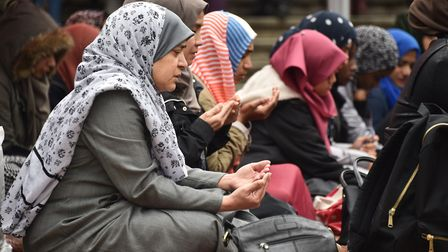 UEA Muslim students gather at the UEA to pray. Picture : ANTONY KELLY