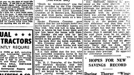 Cyril Cranmer's inquest was reported in the Thetford & Watton Times on May 22 1943. Credit: Archant.