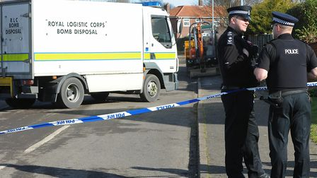 Picture from 2012 of police at the scene where a bomb disposal team detonated one of the two WWII hi