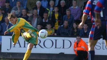 Phil Mulryne goes for goal against Crystal Palace. Picture: Nick Butcher