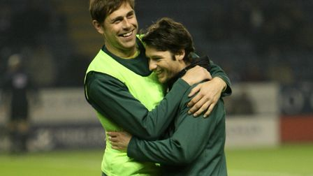 Grant Holt and Wes Hoolahan share a joke as team-mates back in 2011. Picture: Paul Chesterton/Focus