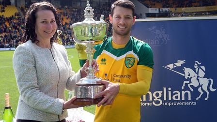 Wes Hoolahan lifts Norwich City's player of the season award for the first time, for his efforts dur