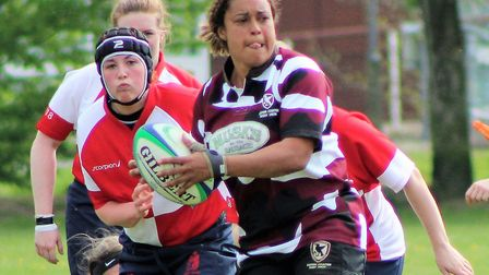 Eastern Counties Ladies try scorer Libby Lockwood (Wymondham Wasps) looks to distribute the ball dur
