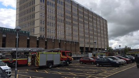 Fire engines at County Hall. Picture: Stuart Anderson
