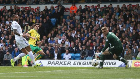 Nelson Oliveira of Norwich goes close during the Sky Bet Championship match at Elland Road, LeedsPi