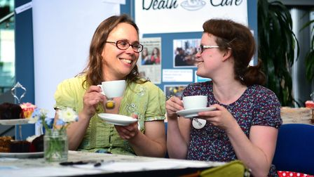 Dying Matters event at The Forum in 2016. Pictured at the Norwich Death Cafe, left, Su Squire and Ka