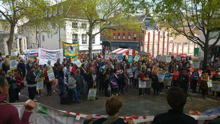 Large crowds were drawn to today's March for Mental Health in Norwich. Photo by Andrew Day.
