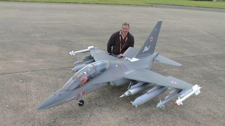 James Ladell with his quarter scale YAK 130 Russian Jet with a 2.4m wing span. picture: LMA