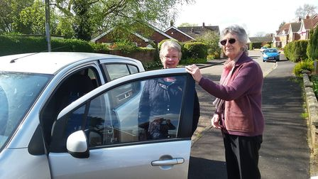 Jan Kemp is co-ordinator of Lyng & Elsing Community Car Scheme, pictured here with passenger Sandra