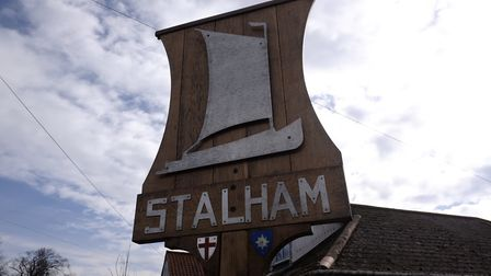 The Stalham town sign features a wherry. Business leaders are hoping its new Wherry arts trail helps