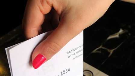 People cast their votes in the election yesterday. Picture: JAMES BASS