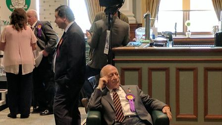 Ukip candidate looking fed up in Great Yarmouth. Photo: George Ryan.