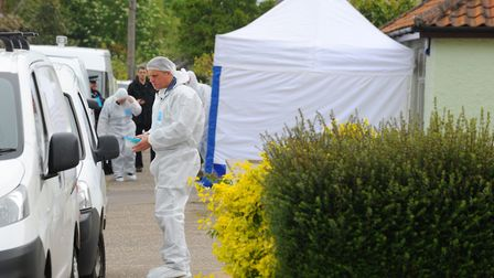 Police and Forensic Services carrying out a detailed search of the property and gardens on Hol