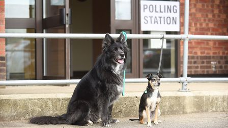 Samba and (R) Dobbie outside The Polling Station at South Wootton Village Hall. Picture: Ian Burt