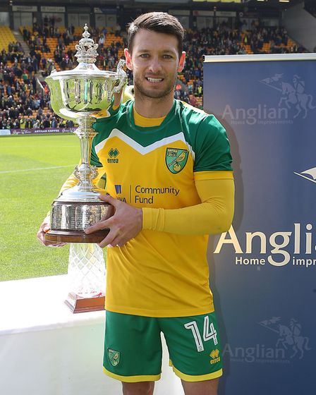At the ninth time of asking, Wes Hoolahan finally claimed the Barry Butler Memorial Trophy. Picture: