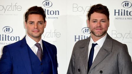 Keith Duffy (left) from Boyzone and Brian McFadden from Westlife announce plans to join forces as Bo