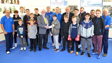Lowestoft Lions President Robin Smith recently presented a cheque for £1,200 to Lowestoft Amateur Bo