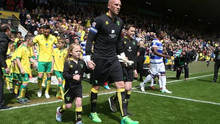 John Ruddy led his family out and Norwich City on his 243rd and final appearance for the club. Pict