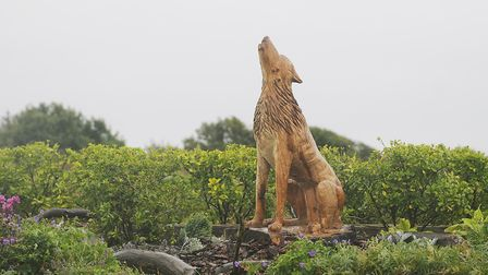 The carved wolf commemorating the legend of St Edmund, near the spot where he landed in Hunstanton.