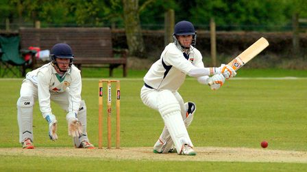Sam Arthurton reverse sweeps during Norfolk's win against Northumberland. Picture: Tim Ferley
