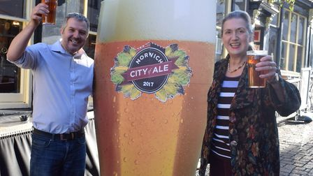 Phil Cutter and Dawn Leeder, co-chairs of Norwich City of Ale. Picture: Red Flame PR