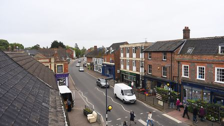 Watton town centre viewed from the top of the clock tower. Picture: Ian Burt