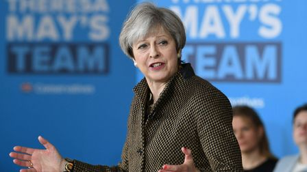 Prime Minister Theresa May speaking in London before making her way to Norwich
