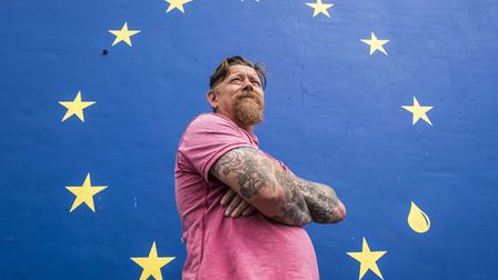 Bren Goillon from Helhoughton, has painted the EU flag on the side of his house to show the disapoin