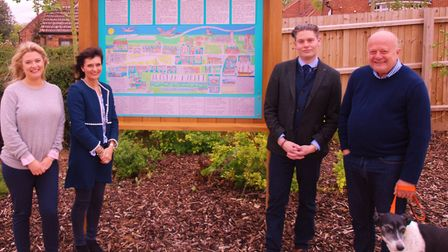 A new village map has been installed in Burnham Market. Photo, left to right: Victoria Berry, (The H