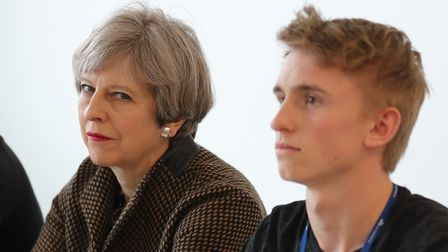Prime Minister Theresa May during a visit to the International Aviation Academy in Norwich. Picture