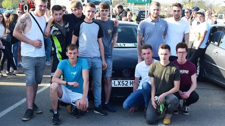 Billy Hines' brothers Ryan and Jack pictured with Billy's friends and his the car he intended to lea