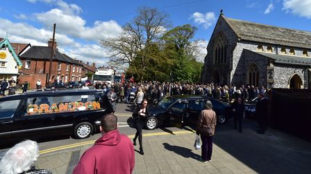 Young people gather at the funeral of Kyle Warren at St John The Baptist Church, Harleston. Picture: