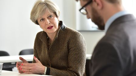 Prime Minister Theresa May during a visit to the International Aviation Academy in Norwich.Picture: