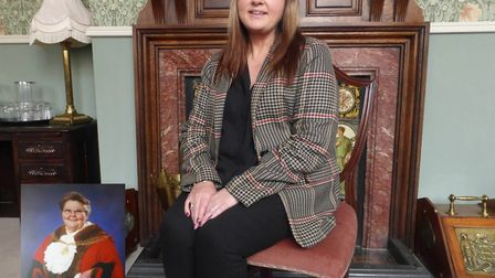 Cllr Kerry Robinson Payne in the mayor's parlour at Great Yarmouth Town Hall. Inset an image of her