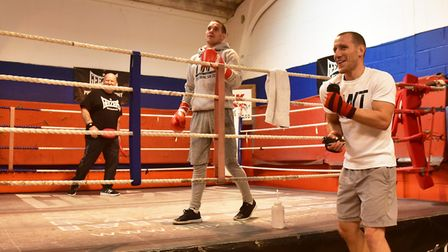 Boxing brothers, Liam and Ryan Walsh at the Kickstop Gym, with trainer Graham Everett. Picture: Nick