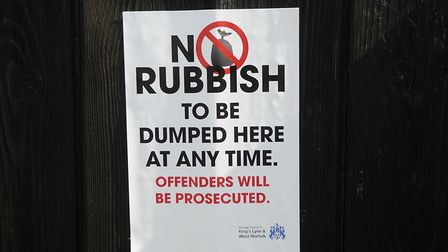 A council sign, warning fly-tippers will be prosecuted. Picture: Chris Bishop