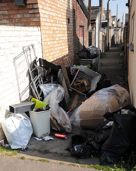 Rubbish dumped in a North Lynn alleyway. Picture: Chris Bishop
