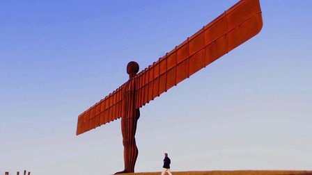The Angel of the North in Newcastle with sculptor Antony Gormley, who recently caused controversy wi