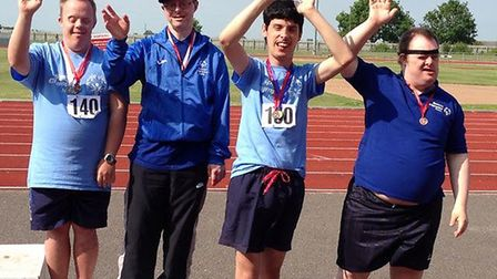 Special Olympic Norfolk athletes, from left, Jamie Wells, John Oldman, Ricky Brown and Owen Crosswel