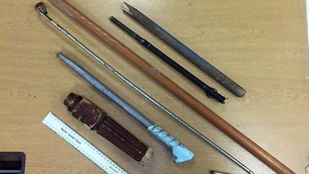 Weapons recovered in Jubilee Park in Ipswich. Picture: Suffolk Police.