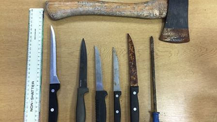 Weapons recovered in Jubilee Park, Ipswich. Picture: Suffolk Police.