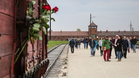 Students from across the East England, including Attleborouogh Academy, on the visit to Auschwitz-Bi
