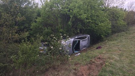The scene of the crash on the A47 at Thickthorn. Pic: Norfolk Constabulary.