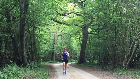 Running columnist Mark Armstrong on a training run in Hatfield Forest, Essex. Picture: Alison Armstr
