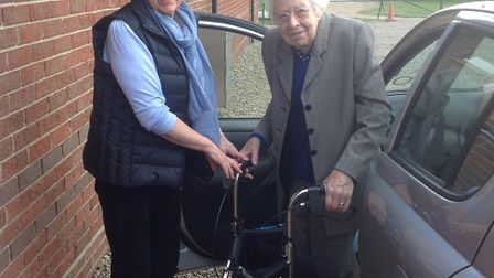 Trustee and volunteer driver Ros Legg with a passenger at the Edith Cavell Day Centre, Swardeston. P